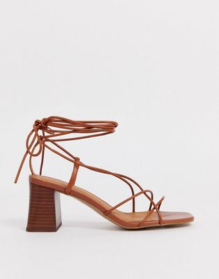 & OTHER STORIES | Other Stories Leather Strappy Heeled Sandals In Cognac - Brown | Goxip